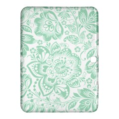Mint Green And White Baroque Floral Pattern Samsung Galaxy Tab 4 (10 1 ) Hardshell Case  by Dushan