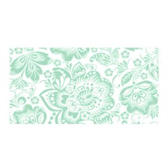 Mint Green And White Baroque Floral Pattern Satin Wrap by Dushan