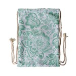 Mint green And White Baroque Floral Pattern Drawstring Bag (Small) Front