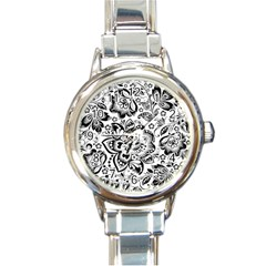 Black Floral Damasks Pattern Baroque Style Round Italian Charm Watches by Dushan