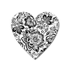 Black Floral Damasks Pattern Baroque Style Heart Magnet by Dushan