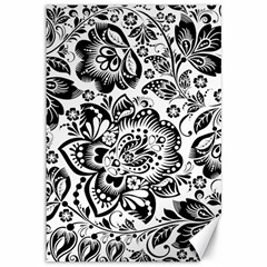 Black Floral Damasks Pattern Baroque Style Canvas 12  X 18   by Dushan