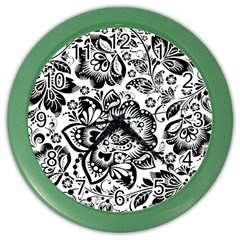 Black Floral Damasks Pattern Baroque Style Color Wall Clocks by Dushan