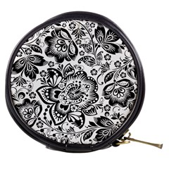 Black Floral Damasks Pattern Baroque Style Mini Makeup Bags by Dushan