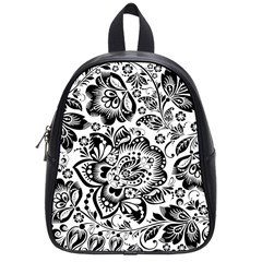 Black Floral Damasks Pattern Baroque Style School Bags (small)  by Dushan