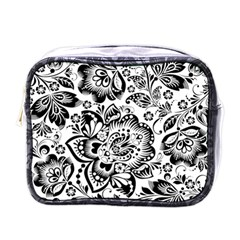Black Floral Damasks Pattern Baroque Style Mini Toiletries Bags by Dushan