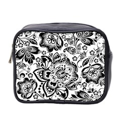 Black Floral Damasks Pattern Baroque Style Mini Toiletries Bag 2 Side by Dushan