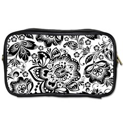 Black Floral Damasks Pattern Baroque Style Toiletries Bags 2 Side by Dushan