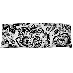 Black Floral Damasks Pattern Baroque Style Body Pillow Cases Dakimakura (two Sides)  by Dushan