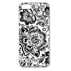 Black Floral Damasks Pattern Baroque Style Apple Seamless Iphone 5 Case (clear) by Dushan