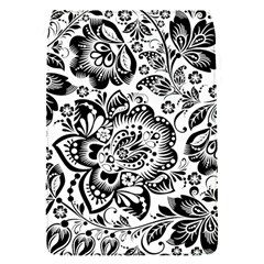 Black Floral Damasks Pattern Baroque Style Flap Covers (s)  by Dushan