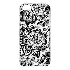 Black Floral Damasks Pattern Baroque Style Apple Iphone 5c Hardshell Case by Dushan