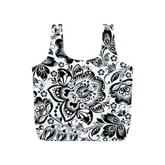 Black Floral Damasks Pattern Baroque Style Full Print Recycle Bags (s)  by Dushan
