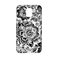 Black Floral Damasks Pattern Baroque Style Samsung Galaxy S5 Hardshell Case  by Dushan