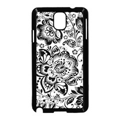 Black Floral Damasks Pattern Baroque Style Samsung Galaxy Note 3 Neo Hardshell Case (black) by Dushan