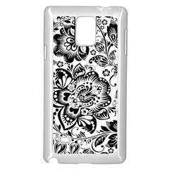 Black Floral Damasks Pattern Baroque Style Samsung Galaxy Note 4 Case (white) by Dushan