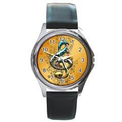 Music, Clef With Fairy And Floral Elements Round Metal Watches by FantasyWorld7
