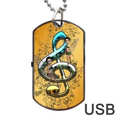 Music, Clef With Fairy And Floral Elements Dog Tag Usb Flash (one Side) by FantasyWorld7