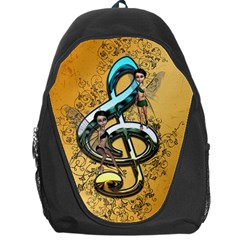 Music, Clef With Fairy And Floral Elements Backpack Bag by FantasyWorld7