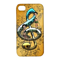 Music, Clef With Fairy And Floral Elements Apple Iphone 4/4s Hardshell Case With Stand by FantasyWorld7