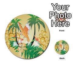 Funny Budgies With Palm And Flower Multi Purpose Cards (round)  by FantasyWorld7