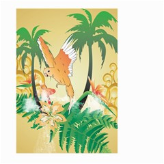 Funny Budgies With Palm And Flower Large Garden Flag (two Sides) by FantasyWorld7