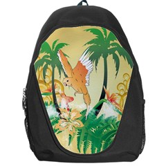 Funny Budgies With Palm And Flower Backpack Bag by FantasyWorld7