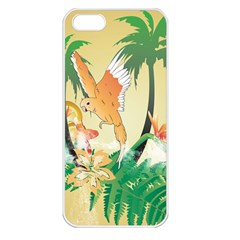Funny Budgies With Palm And Flower Apple Iphone 5 Seamless Case (white) by FantasyWorld7