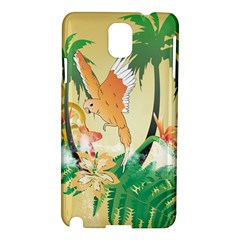 Funny Budgies With Palm And Flower Samsung Galaxy Note 3 N9005 Hardshell Case by FantasyWorld7