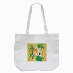 Funny Budgies With Palm And Flower Tote Bag (white)  by FantasyWorld7