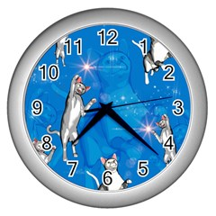 Funny, Cute Playing Cats With Stras Wall Clocks (silver)  by FantasyWorld7