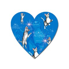 Funny, Cute Playing Cats With Stras Heart Magnet by FantasyWorld7