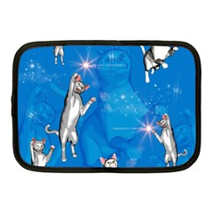 Funny, Cute Playing Cats With Stras Netbook Case (medium)  by FantasyWorld7