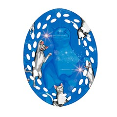 Funny, Cute Playing Cats With Stras Oval Filigree Ornament (2 Side)  by FantasyWorld7