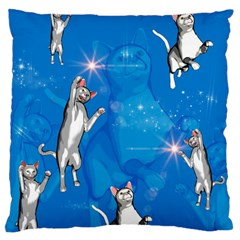Funny, Cute Playing Cats With Stras Large Cushion Cases (two Sides)  by FantasyWorld7