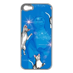 Funny, Cute Playing Cats With Stras Apple Iphone 5 Case (silver) by FantasyWorld7