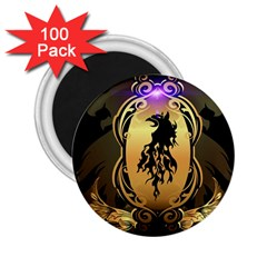Lion Silhouette With Flame On Golden Shield 2 25  Magnets (100 Pack)  by FantasyWorld7