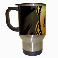 Lion Silhouette With Flame On Golden Shield Travel Mugs (white) by FantasyWorld7