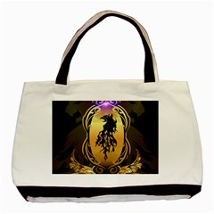 Lion Silhouette With Flame On Golden Shield Basic Tote Bag