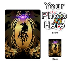 Lion Silhouette With Flame On Golden Shield Multi Purpose Cards (rectangle)  by FantasyWorld7