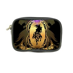 Lion Silhouette With Flame On Golden Shield Coin Purse