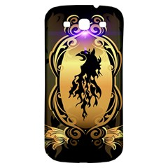 Lion Silhouette With Flame On Golden Shield Samsung Galaxy S3 S Iii Classic Hardshell Back Case by FantasyWorld7
