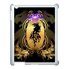Lion Silhouette With Flame On Golden Shield Apple Ipad 3/4 Case (white) by FantasyWorld7