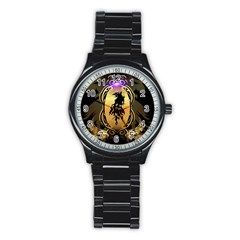 Lion Silhouette With Flame On Golden Shield Stainless Steel Round Watches by FantasyWorld7
