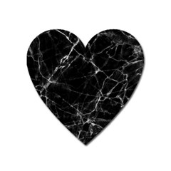 Black Marble Stone Pattern Heart Magnet by Dushan