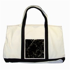 Black Marble Stone Pattern Two Tone Tote Bag