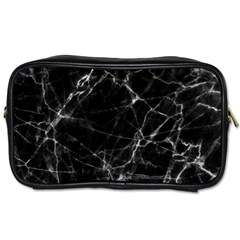 Black Marble Stone Pattern Toiletries Bags by Dushan