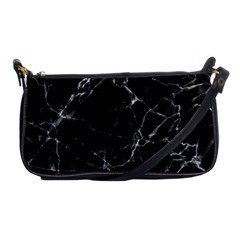 Black Marble Stone Pattern Shoulder Clutch Bags by Dushan