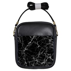 Black Marble Stone Pattern Girls Sling Bags by Dushan