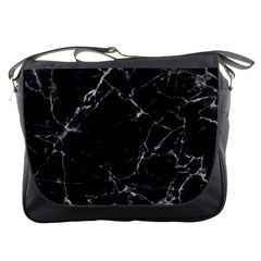 Black Marble Stone Pattern Messenger Bags by Dushan